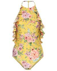 Zimmermann Costume intero a fiori - Giallo