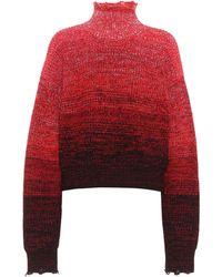 Helmut Lang Turtleneck Wool-blend Sweater - Red