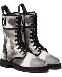 Fendi Signature Canvas Combat Boots - Black
