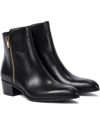 Balmain Roxie Leather Ankle Boots - Black