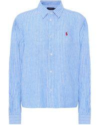 Polo Ralph Lauren Camisa de lino de rayas - Azul