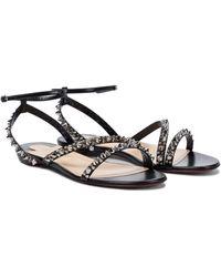 Christian Louboutin Mafaldina Spikes Leather Sandals - Black