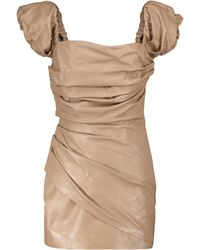 Zeynep Arcay Mini-robe en cuir à encolure bardot - Neutre