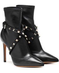 Valentino Ankle Boots Studwrap aus Leder - Schwarz
