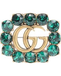 Gucci Crystal-embellished Brooch - Green