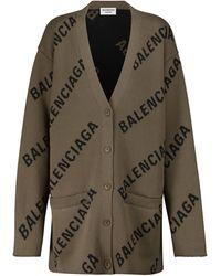 Balenciaga Cardigan in jacquard di misto cotone - Marrone