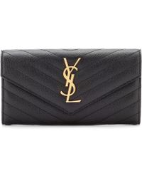 Saint Laurent Monogram Large Leather Wallet - Black