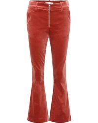 FRAME - Velvet Cropped Trousers - Lyst