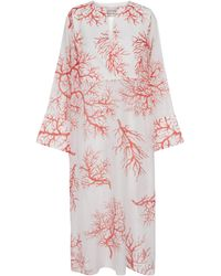 Valentino Exclusive To Mytheresa – Printed Cotton And Silk Kaftan - White