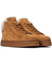 Chloé Lauren Shearling And Suede High-top Sneakers - Brown