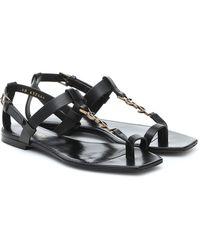 Saint Laurent Cassandra Leather Sandal - Black