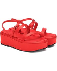 The Row Sandales Wedge à plateforme en satin - Rouge