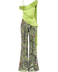 Halpern Draped-bodice Sequinned Jumpsuit - Green