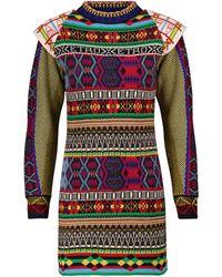 Etro Vestido de punto intarsia mezcla de lana - Multicolor