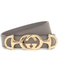 Gucci GG Horsebit Leather Belt - Gray