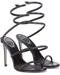 Rene Caovilla Cleo Embellished Leather Sandals - Black