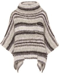 Brunello Cucinelli Striped Mohair-blend Poncho - Gray