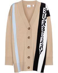 Burberry Logo Jacquard Merino Wool Cardigan - Natural