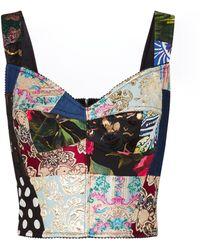Dolce & Gabbana Bustier patchwork in broccato con stampa - Multicolore