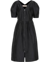 Marni Silk-blend Midi Dress - Black