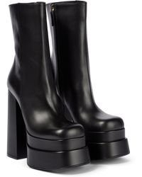 Versace Intrico Leather Platform Ankle Boots - Black