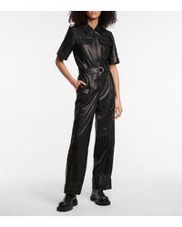 Helmut Lang Combi-pantalon en cuir - Noir