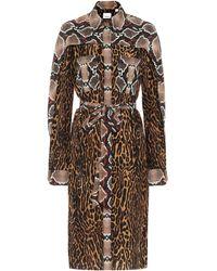 Burberry Vestido camisero con animal print - Marrón