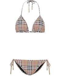 Burberry Bikini a quadri Vintage Check - Neutro