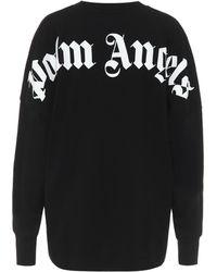Palm Angels Logo Cotton Sweatshirt - Black