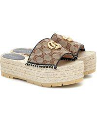 Gucci GG Matelassé Canvas Espadrille Sandals - Natural