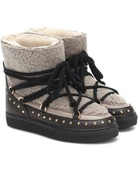 Inuikii Shearling And Leather Boots - Multicolour