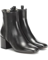 Brunello Cucinelli Verzierte Ankle Boots aus Leder - Schwarz