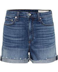 Rag & Bone Shorts Nina de jeans de tiro alto - Azul