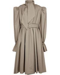 Balenciaga Cotton Gabardine Trench Coat Dress - Natural