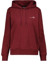 A.P.C. Item F Cotton Fleece Hoodie - Red