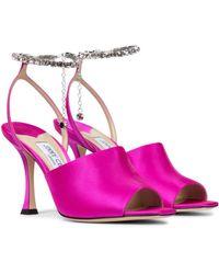 Jimmy Choo Sae 90 Embellished Satin Sandals - Purple