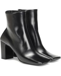 Balenciaga Double Square Leather Ankle Boots - Black