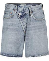 Agolde Shorts di jeans Criss-Cross - Blu