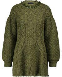 Simone Rocha Embellished Alpaca And Wool-blend Jumper - Green