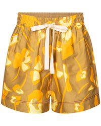 Lee Mathews Shorts Wren en mezcla de lino - Amarillo