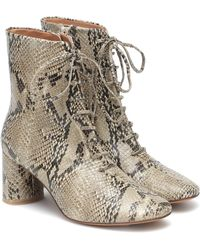 LOQ Agata Snake-print Leather Ankle Boots - Grey