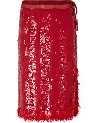 Dries Van Noten Falda midi con lentejuelas y flecos - Rojo