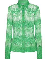 Ganni Camicia in pizzo stretch - Verde