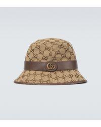Gucci Fedora-Hut GG aus Canvas - Natur