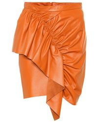 Isabel Marant Minigonna Nela in pelle - Arancione