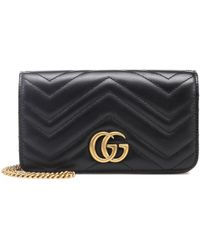 Gucci GG Marmont Mini Leather Shoulder Bag - Black