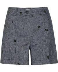 Tomas Maier Shorts di jeans con ricami - Blu