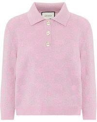 Gucci GG Cropped Wool-blend Jumper - Pink