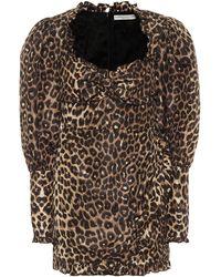 Alessandra Rich Leopard-print Silk Minidress - Natural