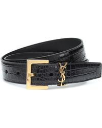 Saint Laurent Monogram Leather Belt - Black